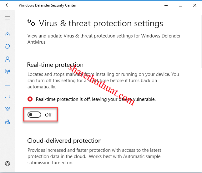 Tắt windows defender security center