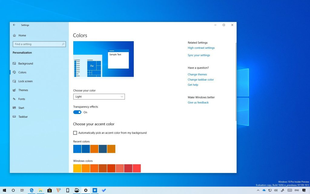 Colors in the Task Bars windows 10